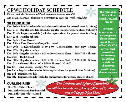 50-1 CPWC holiday schedule